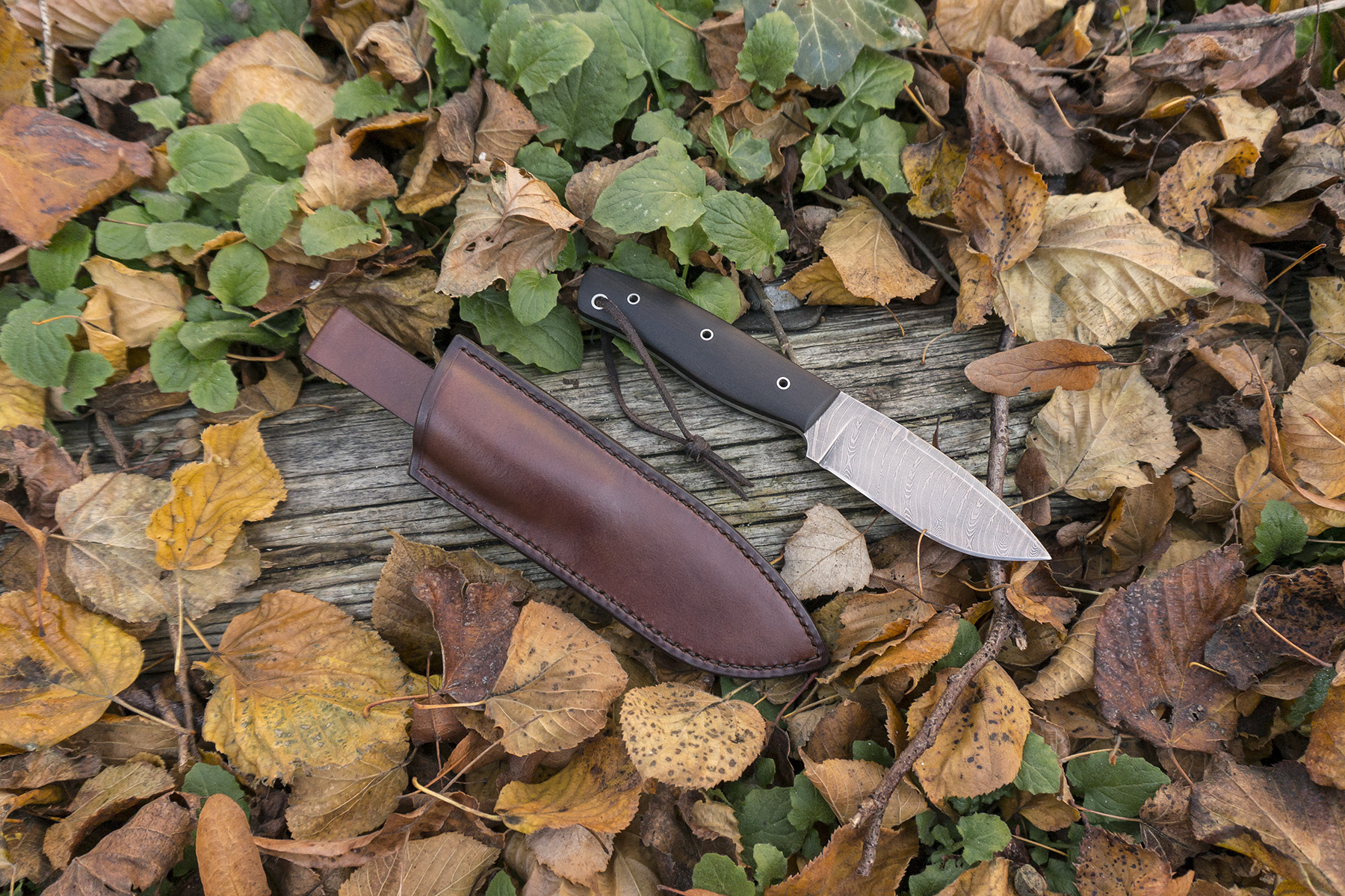 leatherwork leather bushcraft knife scales sheath outdoor camping stitching sewing handmade