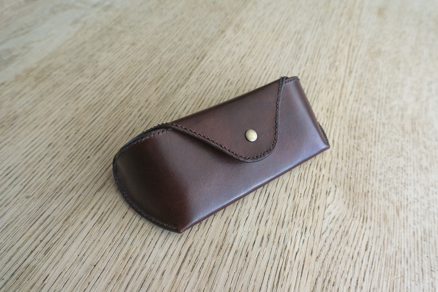 leatherwork leather sun glasses case cover stitching sewing handmade summer